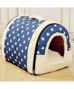 Dog bed in the shape of a house - Blue house kennel for dog blue smooth