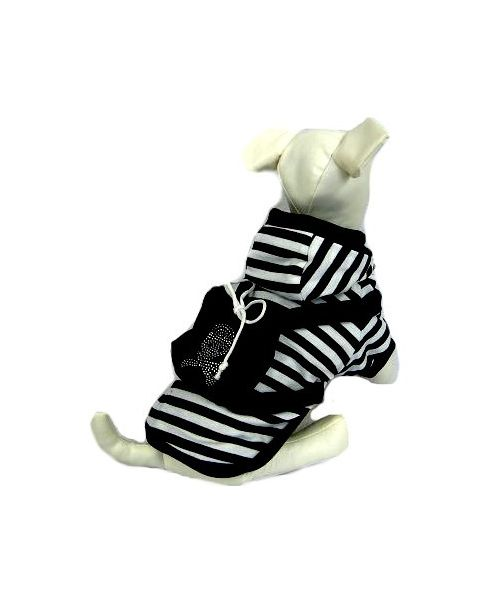 Warm jacket for dog striped black and white + small bag Mouth love