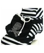 Jacket for dog striped rhinestone + small bag Mouth love