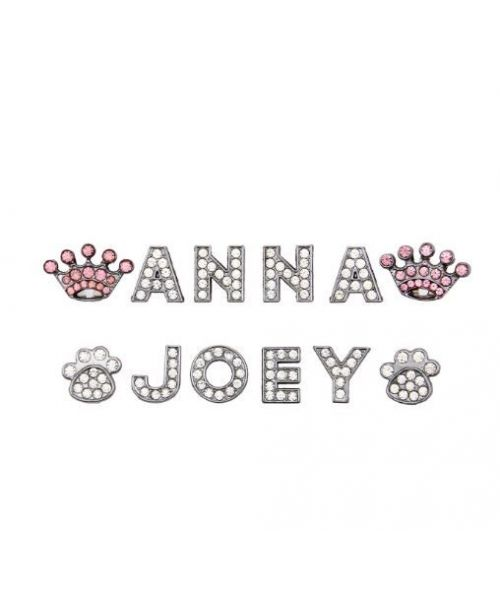 Letter clear crystal charms (A - Z, 10 MM for necklace customizable for dog