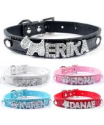 collar customize dog with letter rhinestones 10 mm