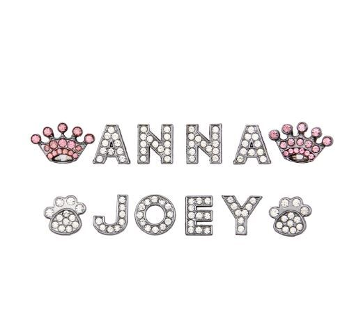 Letter clear crystal charms (A - Z 18 MM for necklace customizable for dog