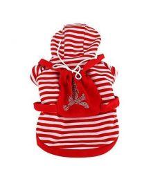 Veste rouge à capuche pour chiens rayée