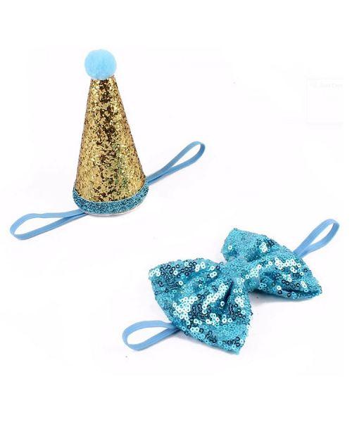 ensemble festif noeud et chapeau pour chien bleu pour anniversaire noel fête pas cher guadeloupe ile de la reunion