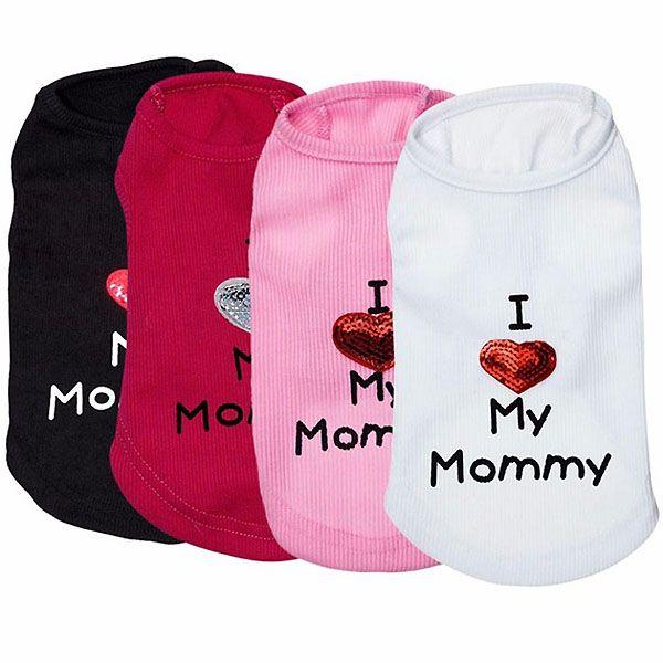 T-shirt pour chien I Love my mommy pour chien ou chat livraison Paris, Montpellier, Marseille, Ajaccio, Poro vecchio, Bastia...