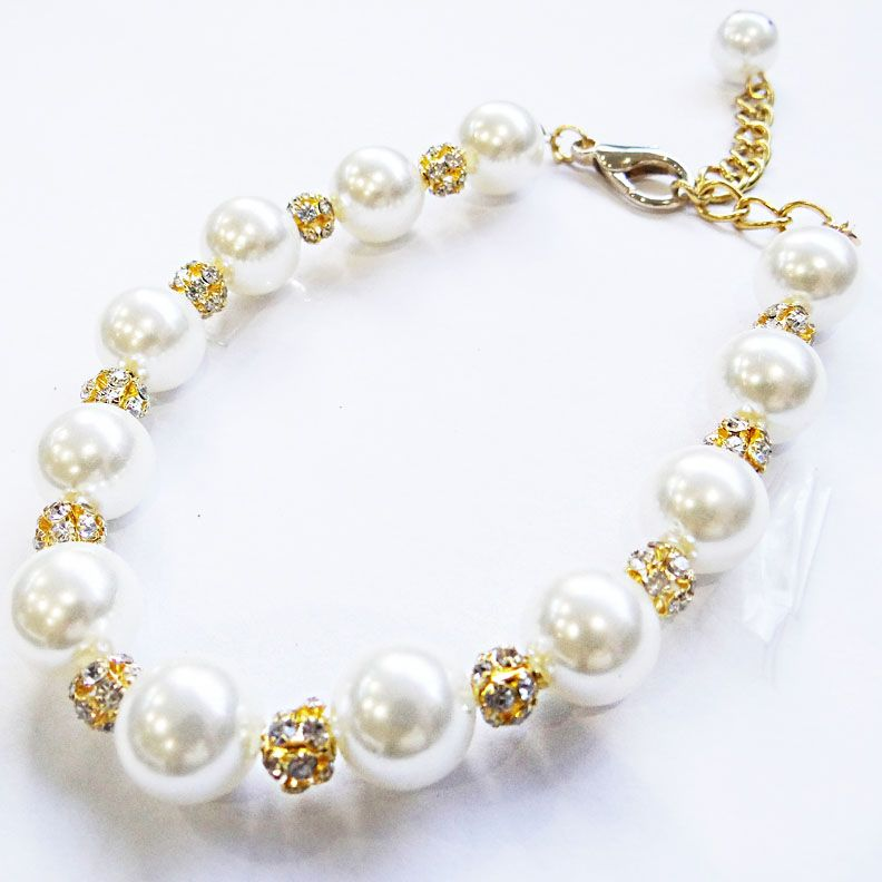 pearl necklace for little white dog with rhinestones online shop original pet mouth d love