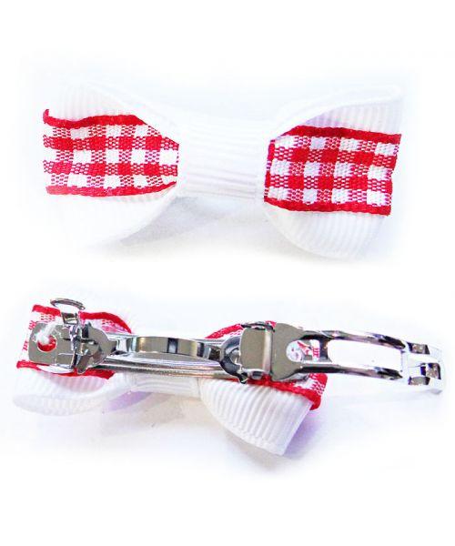 noeud pour chien pince à la française rouge et blanche livraison dom tom suisse belgique