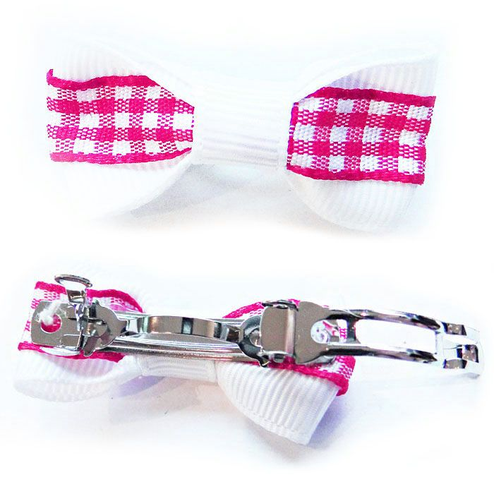 Gingham French clip dog hair clip - white and pink for pets cheap original
