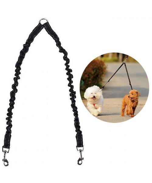 Accouple double pour chiens réfléchissante - noire