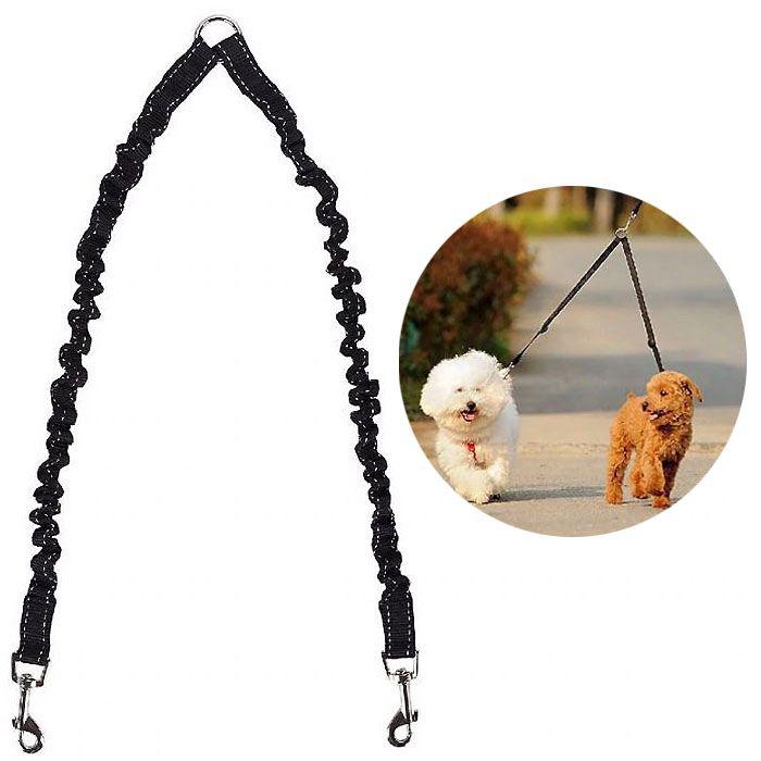 Accouple double pour chiens réfléchissante - noirepas chere de qualité boutique en ligne