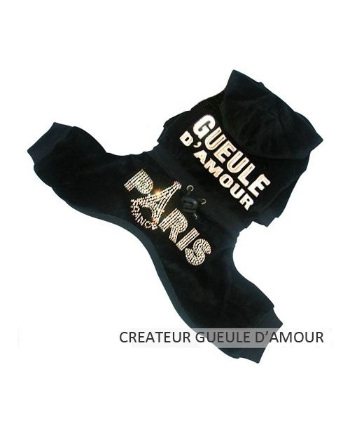 Jogging dog, black with rhinestones velour cheap on online store delivery to new caledonia, French polynesia..