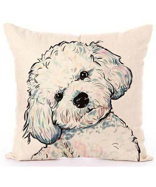 cushion cover with bichon too cute free shipping not expensive france dom tommartinique switzerland belgium