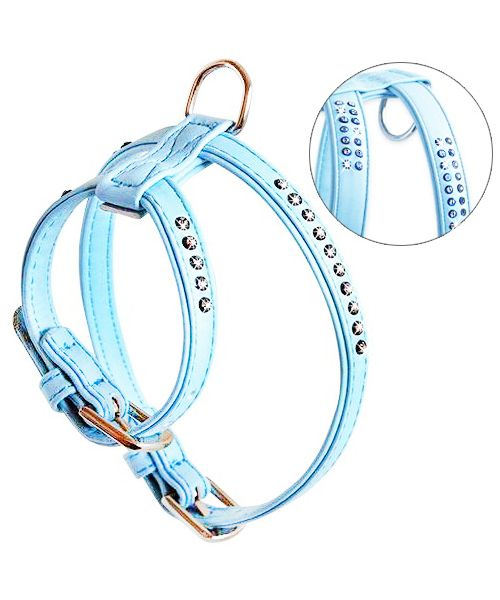 harness small dog rhinestone blue