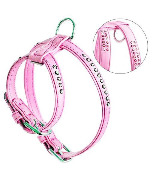harnais pour chien avec strass rose