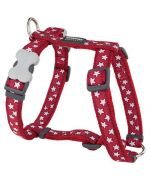 Dog harness red with stars