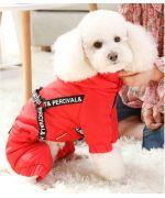 manteau rouge pour chien avec harnais intégré