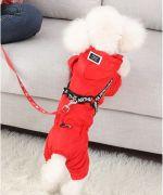 manteau pour caniche bichon jack westie avec pattes coloris rouge
