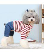 combinaison pour chien marin rouge et blanche