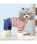 red and white sailor dog jumpsuit