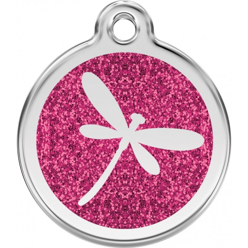 Medal engraved with sequins libelule for dogs and cats pink