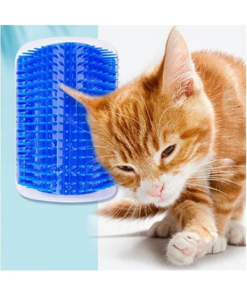 Brush for cat self-grooming wall