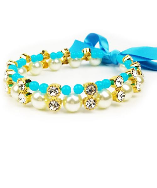 necklace pearl and rhinestone for dog blue