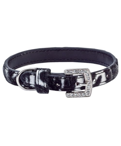 silver and black dog collar