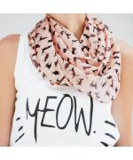 scarf light pink for women with black cats