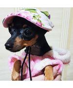 petite casquette pour chien fleurie