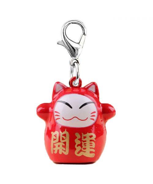 Clochette pour chien et chat porte bonheur Maneki-Neko - rouge