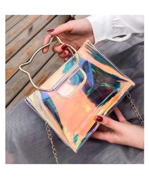 Handbag for woman with cat - gray