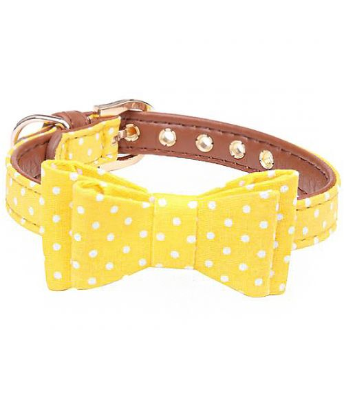 Dog collar with bow - yellow