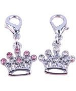 Pendant, rhinestone crown - Dog and cat