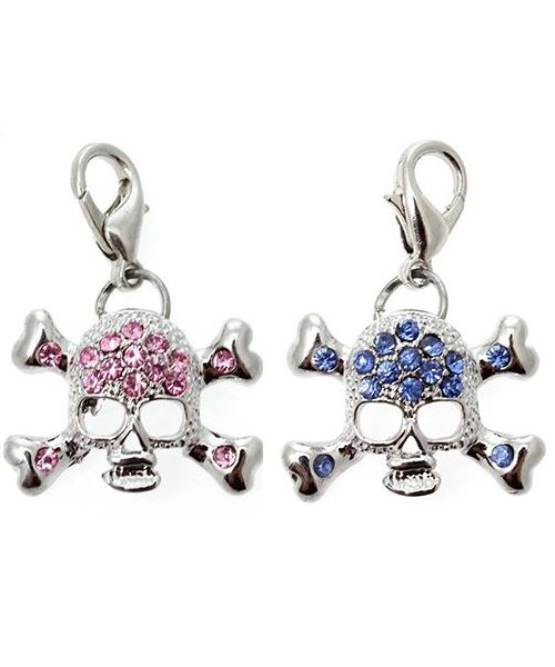 Pendant, rhinestone skull Dog and cat