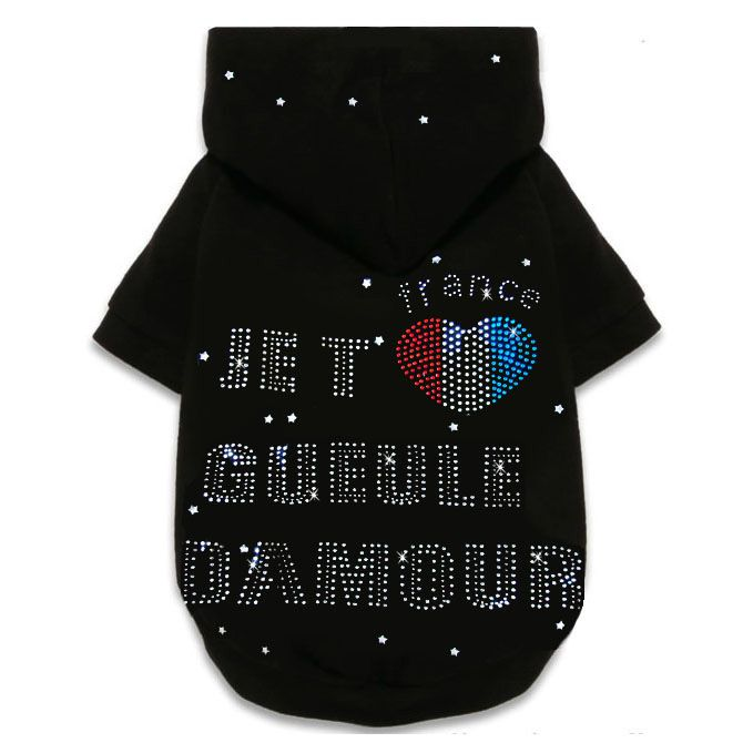"""Fournisseur de pull à capuche strass """"Gueule d'amour"""" pour chien et chat, accessoire strass pour animaux, colliers cristal"""