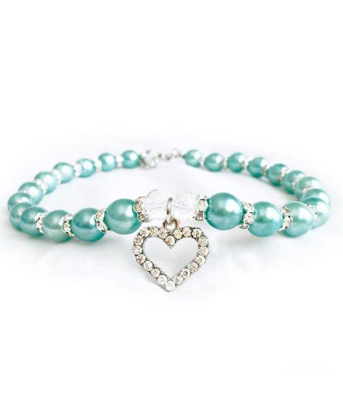 collier pour chien en perle avec coeur strass