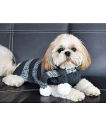 buy sweater for dog, grey striped not expensive free shipping original fashion dress for dog fashion