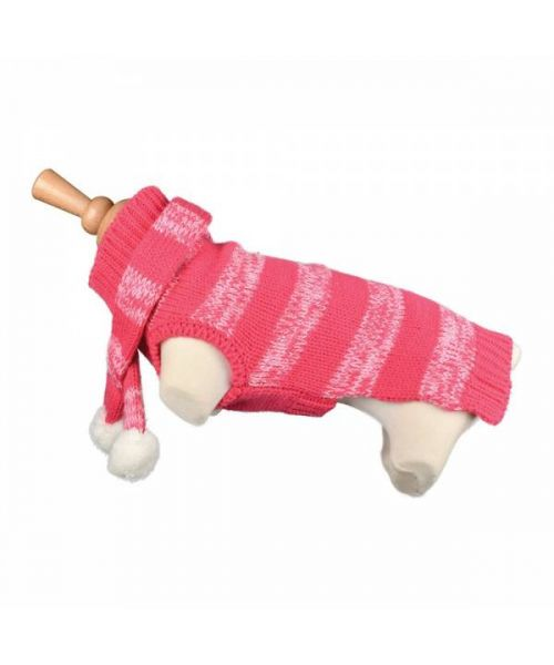 clothes for dog winter with pink stripe for a stylish look with scarf guadeloupe martinique dom tom