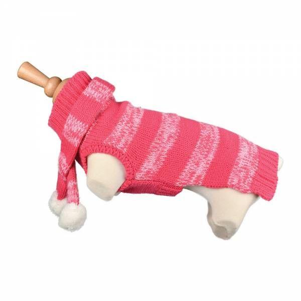 pull en laine rose pour chien