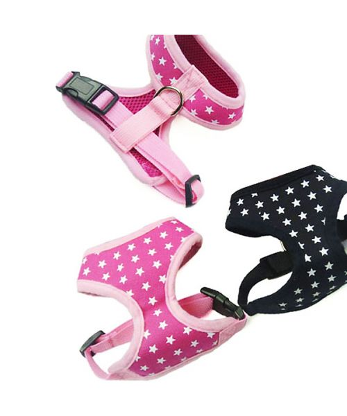 dog harness pink harness white stars