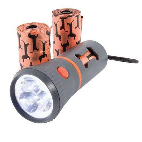 Lampe torche distributeur de sachets ramasse-crottes + 3 rouleaux