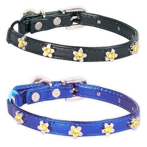 black cat collar small dog leather flower rhinestone design cheap mouth of love