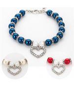 navy blue pearl dog collar