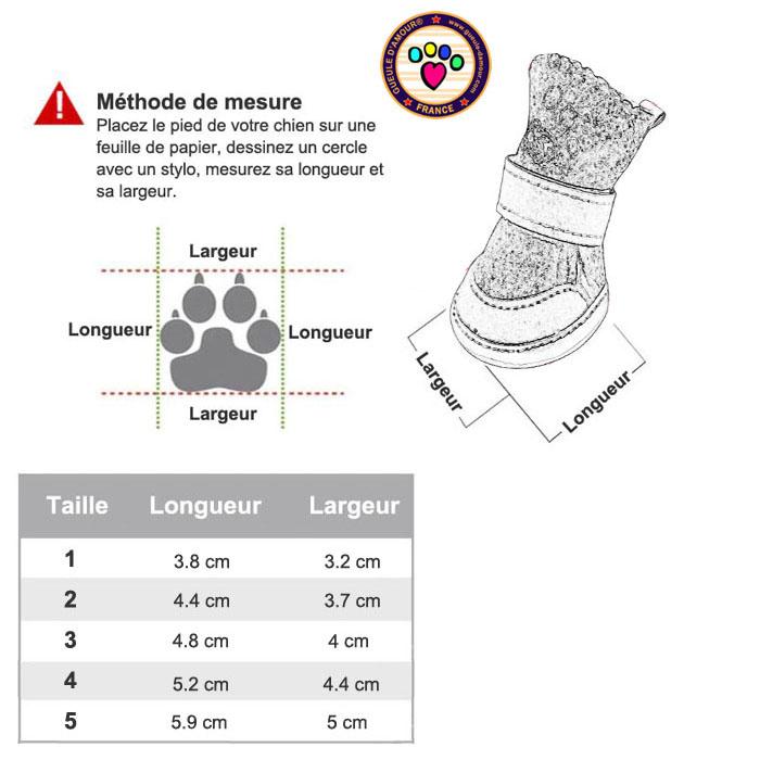 Guide des tailles chaussures pour chien